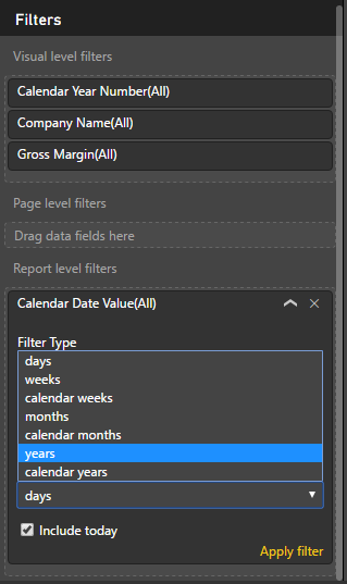 Power BI time filter
