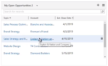 Account Information Microsoft Dynamics 365
