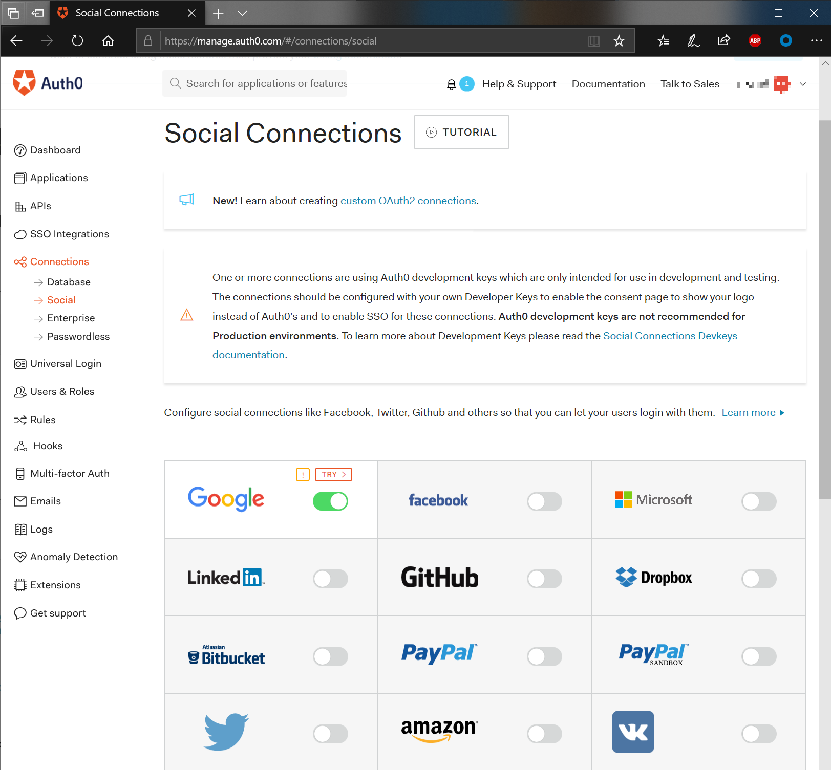 Social Connections Auth0