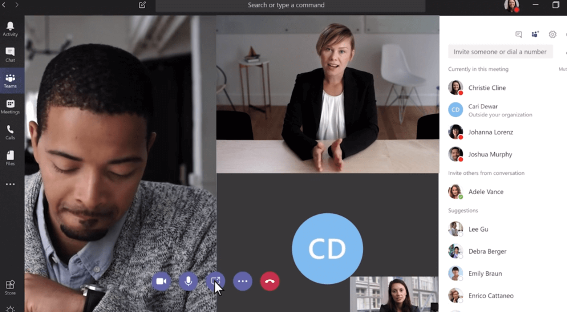 Sharing Screens in Teams Video Call