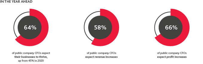 64%25 of public company CFOs expect their businesses to thrive, 58%25 of public company CFOs expect revenue increases, 66%25 of public company CFOs expect profit increases