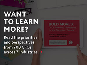 Want to learn more? Read the priorities and perspectives from 700 CFOs across 7 industries.
