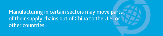 """Manufacturing in certain sectors may move parts of their supply chains out of China to the U.S. or other countries."""